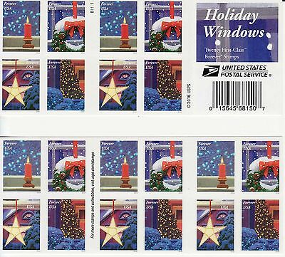 Holiday Windows Stamp Booklet -- Usa #51445-#5148 Forever 2016 Doubled Sided Boo
