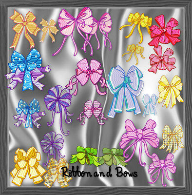 RIBBON AND BOWS 12 MACHINE EMBROIDERY DESIGNS CD 2styles and 2 sizes