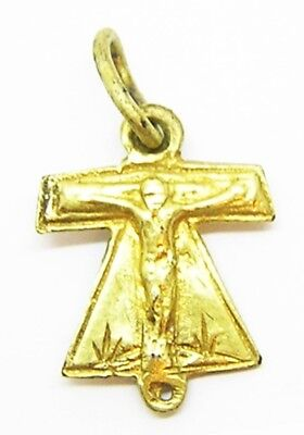 Rare 15th - 16th century A.D. Medieval Silver Gilt Tau Cross Pendant St Anthony