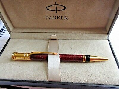 Parker Mk1 Duofold Ball Point Pen Red Marble Color 23K Gold Plate Clip & Cap