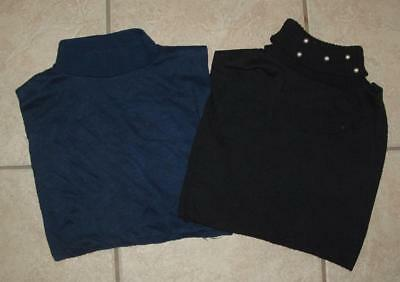 One Size Fits Most Navy Blue & Black Turtleneck Sweater Dickie Dickey 2 Pc Lot