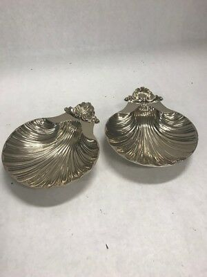 Pair Silver Plated Clam Shell Dish Circa 1950 Sheffield England Reproduction
