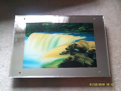 vintage lighted motion sound picture mirror waterfall bears