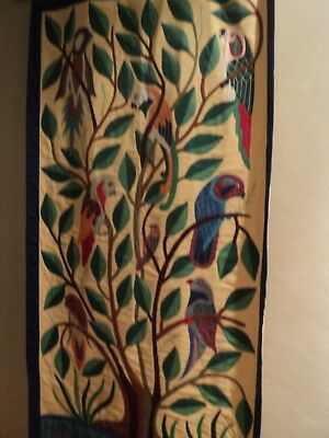 Vintage Hand Applique Parrot Wall Hanging Quilt Top Tablecloth