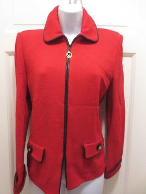 ST. JOHN  Marie Gray RED BLACK LEATHER TRIM Santana Knit  BLAZER Jacket 6 Small