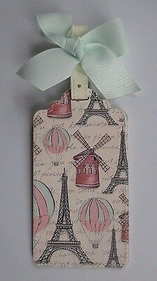 J Globe Trotting Eiffel tower Vegan Leather Luggage Tag Bag ID suitcase NEW bow