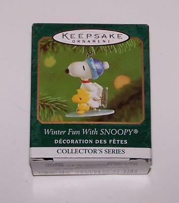 2001 Hallmark Miniature Ornament - Winter Fun with Snoopy - 4th in Series
