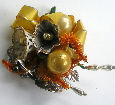Vintage Gold Mercury Bead Bell Christmas Corsage Pin