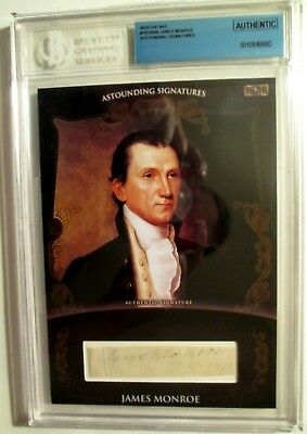 ;18 Superbreak RARE JAMES MONROE CUT AUTOGRAPH & ART PORTRAIT 1/1 BECKETT COA+++