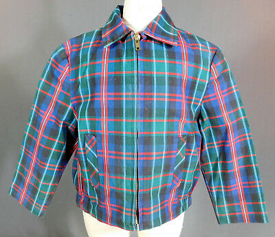 Vintage 1950s Childs Cotton Plaid Tartan Boys Retro Rockabilly Ricky Jacket Coat