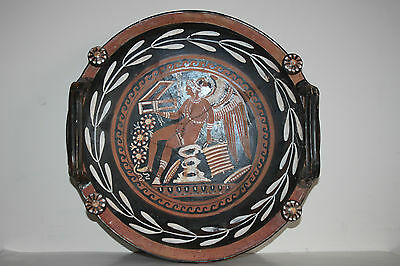GOOD ANCIENT GREEK POTTERY LARGE RED FIGURE PATERA PLATE 4th CENTURY BC