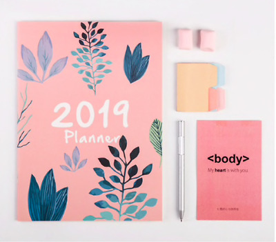 2019 Weekly/Monthly Planner / Calendar, - 5 in x 8 in colors vary