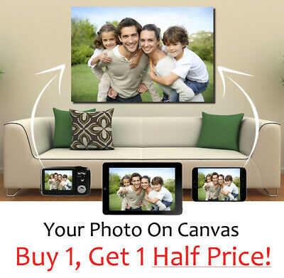 Your Photo On Custom Canvas  32 x 16 INCH Personalised Picture *READY TO HANG*