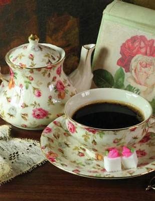 Chintz Pattern Tea-For-One Cup & Teapot/Victorian Trading Co 5 Stars/Sale Price!