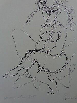 ROGER SOMVILLE (1923-2014) / NAAKTE VROUW / ZW-W LITHO / 50x40cm / SIG