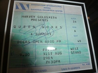 QUEEN, Freddie Mercury, Brian May, ROGER TAYLOR, SIGNED 1984 N.E.C. WORKS TICKET