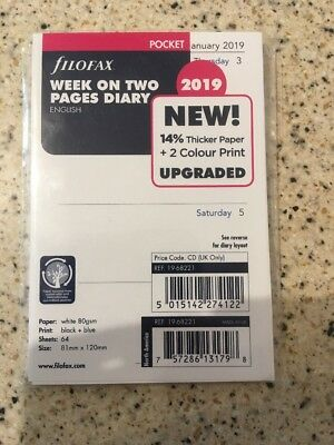 Filofax Pocket 2019 Week on Two Pages Diary White Refill Insert 19-68221.