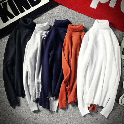 Men's Thermal High Collar Turtleneck Pullover Long Sleeve Sweater Stretch Shirts