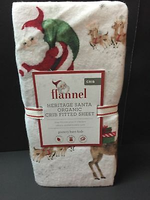 Pottery Barn Kids HERITAGE SANTA Crib Baby Toddler SHEET Flannel Christmas NEW