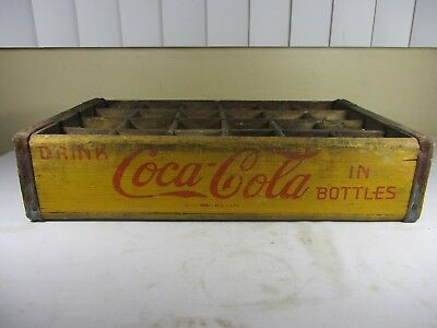 Vintage Coca Cola Yellow 24 Bottle Wooden Crate Soda Carrier   (2)