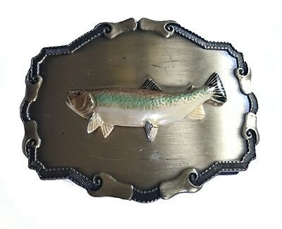 Vtg Fish Belt buckle Salmon Trout River Fishing Fisherman Lake Gear Fly Raintree
