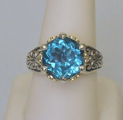 Konstantino Blue Topaz Ring Size 7 Faceted Sterling Silver 18K Yellow Gold New