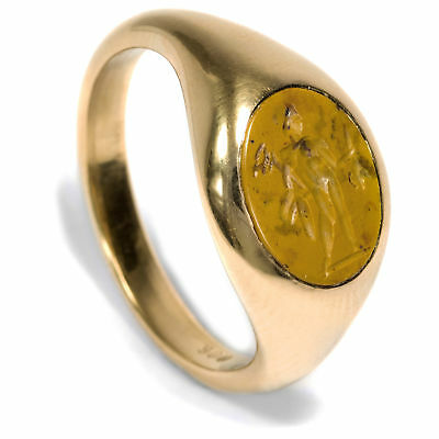 900/000 Gold Ring with Antique Roman Gem Seal Ring God Hermes Intaglio
