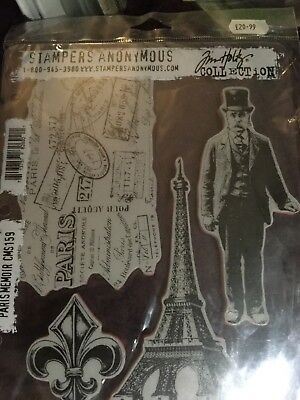Stampers Anonymous Tim Holtz Paris Memoir Rubber Stamps New