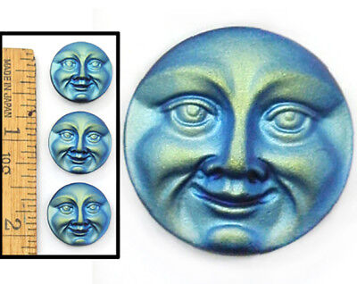 18mm Vintage Czech Art Glass Frosted Matte Blue AB MOON FACE 3D Buttons 3pc