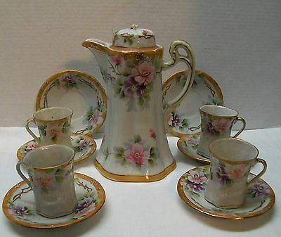 Nippon Tea Set Teapot Cups Saucer 12 pcs Purple Pink Flowers Gold Trim Vintage