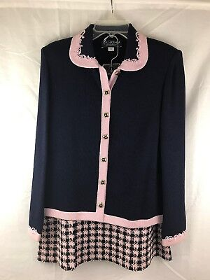 St. John by Marie Grey, Womens Knit Long Sleeve Skirt Suit Blue and Pink, Size 8