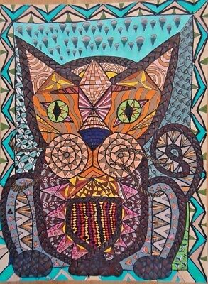 """Original  Art Marker Pen  and Pencil Drawing on paper. 12"""" BY 9"""" DOODLE"""
