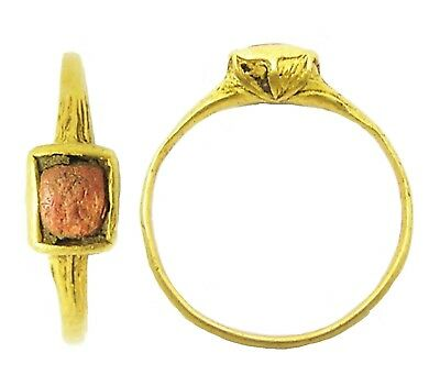 Excavated 16th century Elizabethan Tudor Gold & Coral Finger Ring  Size 6 1/4