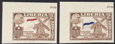 Liberia 1958, Visit to Netherlands x2, IMP. MISSING red, blue NH #368 Windmill