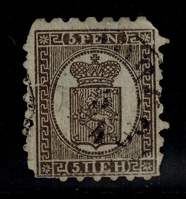 FINLAND STAMPS/Sc.#6 USED. 1866-74 RED BROWN TYPE III SERPENTINE ROULETT