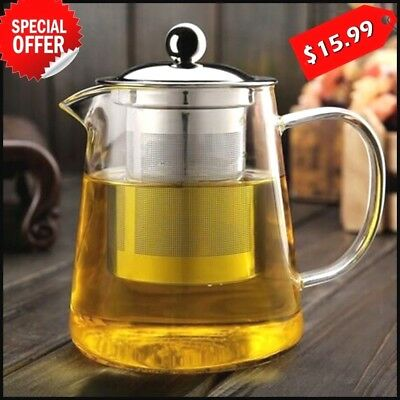 Glass Teapot with Infuser, Blooming and Loose Leaf Stainless Tea Pot Tea Maker