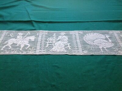 """Rare Antique Figurale Filet Net Lace Runner - Off-White/ Ivory 40"""" X 7.5"""" #1"""