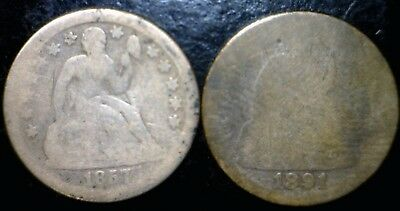 1875 & 1891 Seated Liberty Silver Dimes FULL BOLD DATES ~ 2 Coin LOT  NO RESERVE