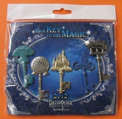 Disney Pin Your Key to the Magic 2012 Passholder 5 Key Park & Monorail Set NIP