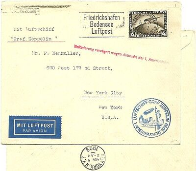 Germany 15-5-29  cover ZEPP Zeppelin Interrupted Flight to USA N.Y. +4RM