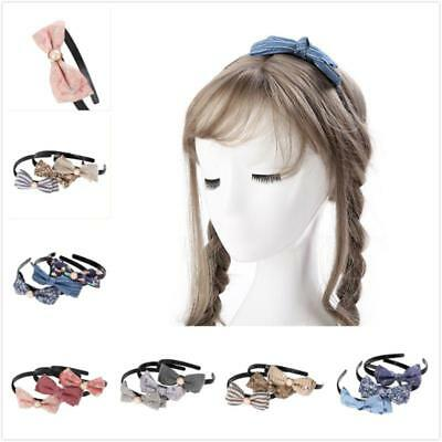 Floral Print Kids Bow Headband Girls Hair Band Bowknot Wired Hair Accessories Q