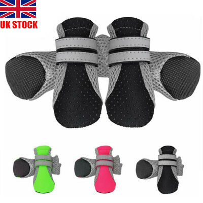 4pcs Dog Boots Feet Cover Waterproof Paw Protector Shoes Strap Anti-Slip Sole UK