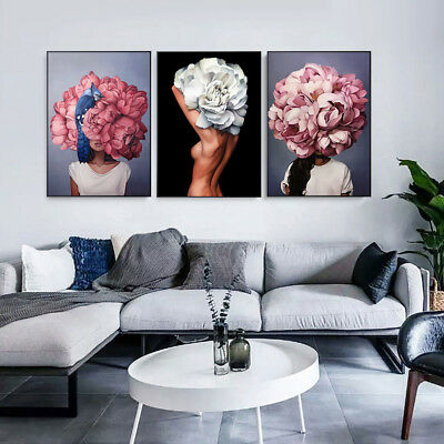 Abstract Flower Women Canvas Wall Painting Poster Living Room Art Decor Fashion