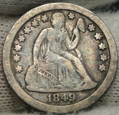 1849 O  Seated Liberty Dime, 10 Cents. Key Date 300,000 Minted, Nice Coin (7540)