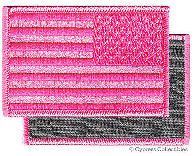 AMERICAN FLAG BIKER PATCH PINK LEFT embroidered USA w/ VELCRO® Brand Fastener