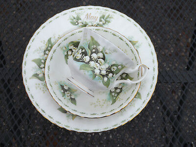 Royal Albert Flower of the Month Series May Teacup Trio Lily of the Valley