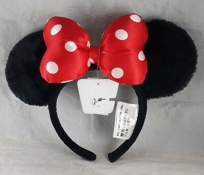 Disney Parks Minnie Mouse Ears Bow Headband Plush Ears Polka Dot Bow - NEW