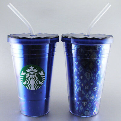 Set of 2 Disney Starbucks Tumblers 60th Diamond Celebration-Double Wall Cold Cup