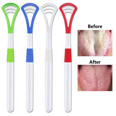 2pcs Oral Care Tongue Scraper Cleaner Gentle Silicone Head Plastic Brush