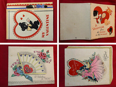 Lot of 5 Vintage Valentines Day Cards (my guess) from 30s to 40s No envelopes